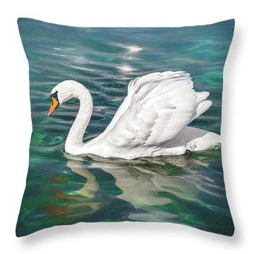 Lone Swan Lake Geneva Switzerland Throw Pillow