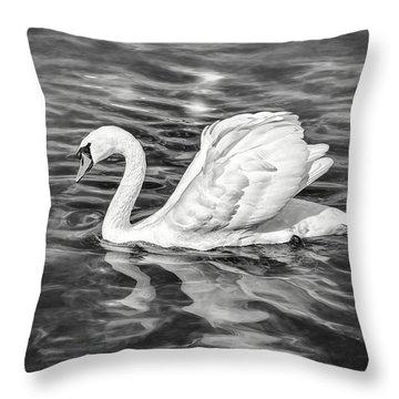 Lone Swan Lake Geneva Switzerland In Black And White Throw Pillow