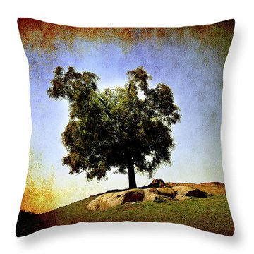 Throw Pillow featuring the photograph Lone Tree On The Hill by Milena Ilieva