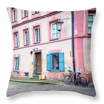 Lonely Bicycle Throw Pillow