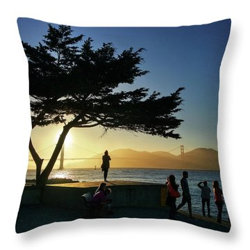 Throw Pillow featuring the photograph Lonely Tree At Crissy Field by Quality HDR Photography