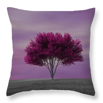 Lonely Tree At Purple Sunset Throw Pillow