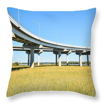 Long Concrete Bridge  Throw Pillow