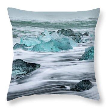 Long Exposure At The Jokulsarlon Ice Beach Throw Pillow