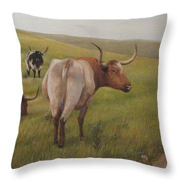 Long Horns Throw Pillow