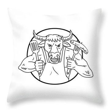Longhorn Bull Holding Barbecue Sausage Drawing Black And White Throw Pillow
