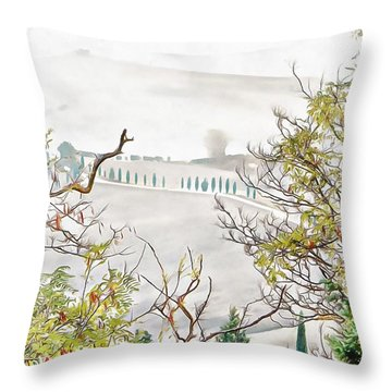 Throw Pillow featuring the photograph Look Through Tuscan Autumn Foliage by Dorothy Berry-Lound