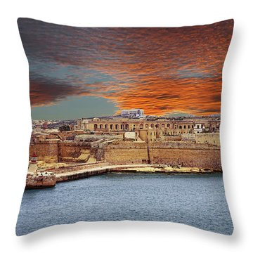 Looking Across Harbor From Fort St Elmo To  Fort Rikasoli Throw Pillow