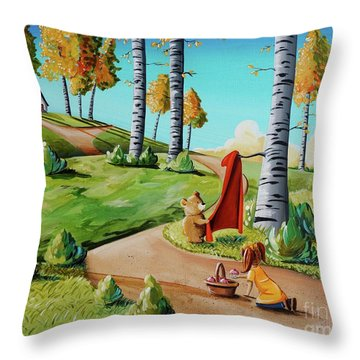 Looking For Little Red Riding Hood Throw Pillow