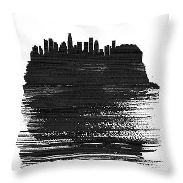 Los Angeles Skyline Brush Stroke Black Throw Pillow