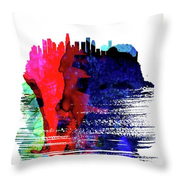 Los Angeles Skyline Brush Stroke Watercolor   Throw Pillow