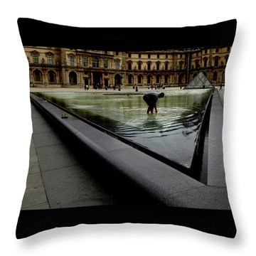Throw Pillow featuring the photograph Louvre, Water by Edward Lee