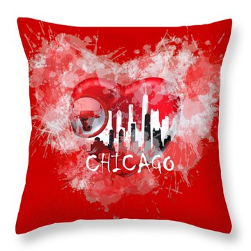 Love Chicago Colors Throw Pillow