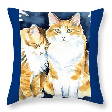 Love Me Meow Cat Painting Throw Pillow