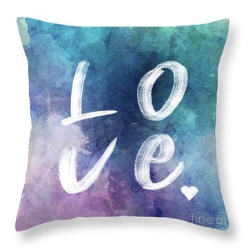 Love Watercolor In A Blue Square Throw Pillow