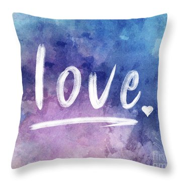 Love Watercolor In Blue Throw Pillow