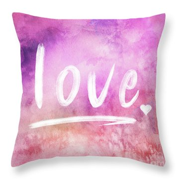 Love Watercolor In Pink Throw Pillow