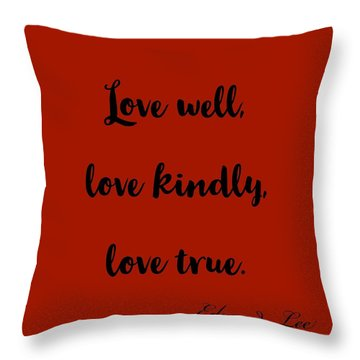 Throw Pillow featuring the digital art Love Well            Black On Red  by Edward Lee