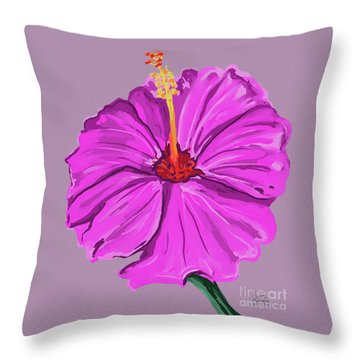 Lovely Pink Hibiscus Throw Pillow
