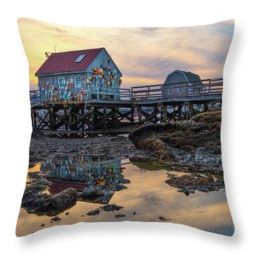 Low Tide Reflections, Badgers Island.  Throw Pillow