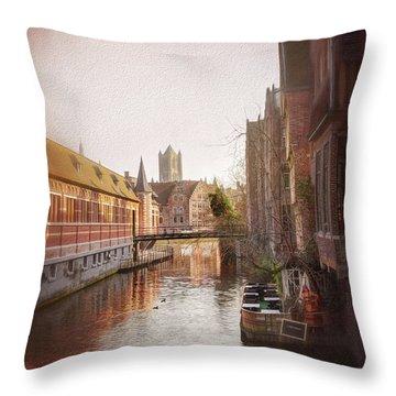 Low Winter Sun Ghent Belgium Throw Pillow