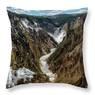 Throw Pillow featuring the photograph Lower Falls In Yellowstone by Scott Read