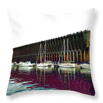 Lower Harbor Ore Dock At Marquette Michigan. Throw Pillow