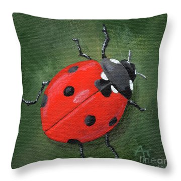 Lucky Ladybug Painting Throw Pillow