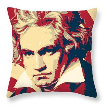 Ludwig Van Beethoven Retro Propaganda Throw Pillow