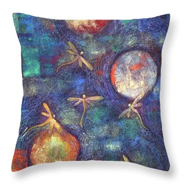 Luminous Dragonflies Throw Pillow