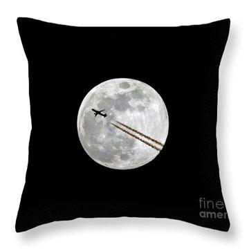 Lunar Photobomb Throw Pillow