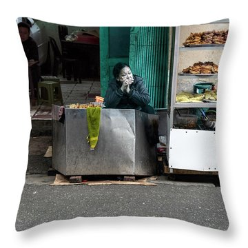 Lunch Time In Vietnam Throw Pillow