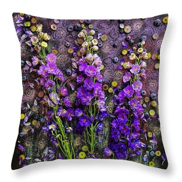 Lupine And Blueberries  Throw Pillow