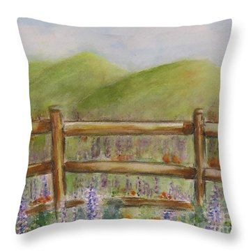 Lupines With A Side Of Poppies Throw Pillow
