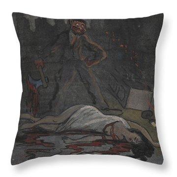 Throw Pillow featuring the drawing Lust Killer by Ivar Arosenius