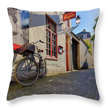 Lux Cobblestone Road Brugge Belgium Throw Pillow