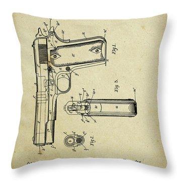 M1911 Browning Pistol Patent Throw Pillow