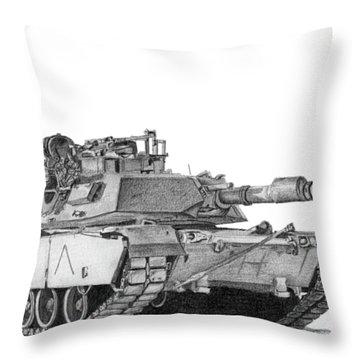 M1a1 A Company Commander Tank Throw Pillow