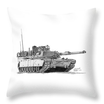 M1a1 D Company Commander Tank Throw Pillow