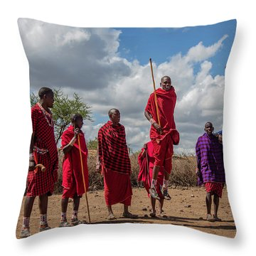 Maasai Adumu Throw Pillow