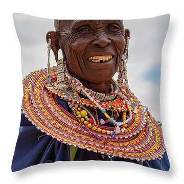 Maasai Woman In Tanzania Throw Pillow