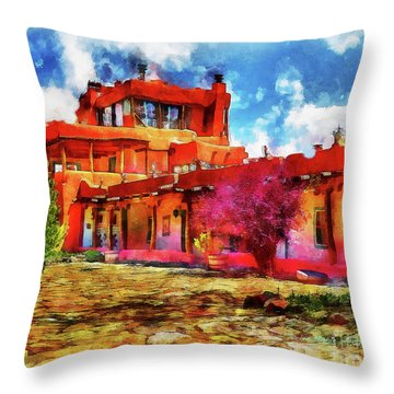 Mabel's Courtyard In Aquarelle Throw Pillow