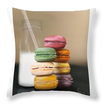 Throw Pillow featuring the pastel Macaroons  by Fe Jones