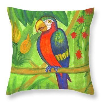 Macaw Parrot In The Wild Throw Pillow