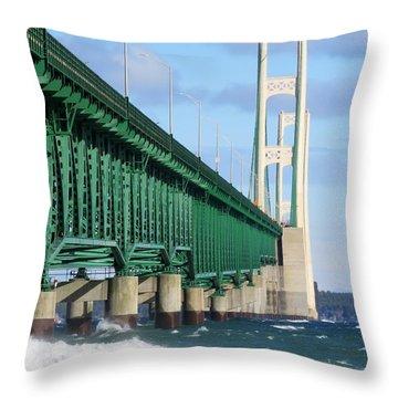 Mackinac Bridge And Waves Throw Pillow