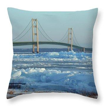 Mackinac Bridge In Ice 2161801 Throw Pillow