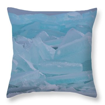 Throw Pillow featuring the photograph Mackinaw City Ice Formations 21618010 by Rick Veldman