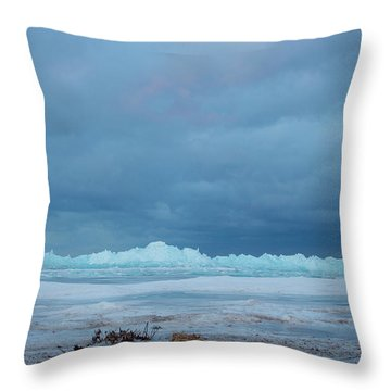 Throw Pillow featuring the photograph Mackinaw City Ice Formations 21618011 by Rick Veldman