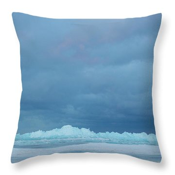 Throw Pillow featuring the photograph Mackinaw City Ice Formations 21618012 by Rick Veldman
