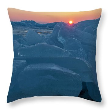 Throw Pillow featuring the photograph Mackinaw City Ice Formations 21618013 by Rick Veldman